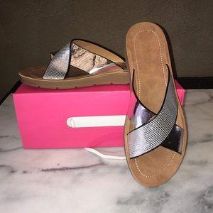 Shoes - NIB Silver Metallic X Slip on Sandals sz 8